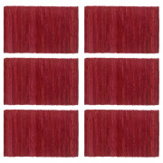 Napperons 6 pcs Chindi Plain Bordeaux 30 x 45 cm Coton