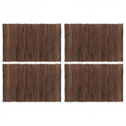 Napperons 4 pcs Chindi Plain Marron 30 x 45 cm Coton