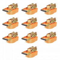 Sangle d'arrimage à cliquet 10 pcs 2 tonnes 8 m x 50 mm Orange