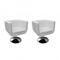Chaise de bar 2 pcs Cuir artificiel Blanc