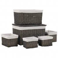 Ensemble de paniers empilables 6 pcs Gris Saule naturel