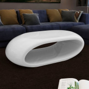 VidaXL Table basse Fibre de verre Blanc brillant
