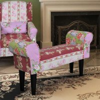 Panchina divanetto patchwork design floreale stile pastorale