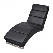 Chaise Lounge de cuero negro artificial