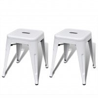 Tabouret 2 pcs Empilable Métal Blanc