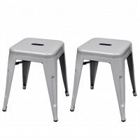 Tabouret 2 pcs Empilable Métal Gris