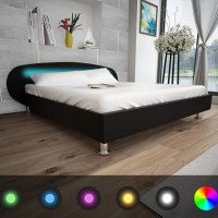 Letto con LED 180 x 200 cm in Pelle Artificiale Nera