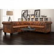 VidaXL Canapé d'angle Chesterfield 5 plcs Cuir artificiel Marron