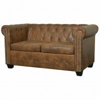 VidaXL Canapé Chesterfield 2 places Cuir artificiel Marron