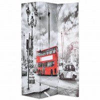 Biombo divisor plegable 120x180 cm bus Londres blanco y negro