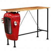 Table de bar Bois de manguier 60x150x107 cm Rouge Tracteur