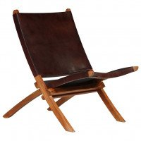 Chaise de relaxation Cuir véritable 59 x 72 x 79 cm Marron