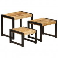 Tables gigognes 3 pcs Bois solide de manguier