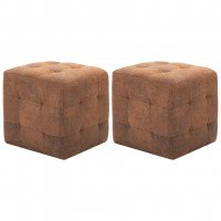 2 pcs Tables de chevet Marron 30x30x30 cm Similicuir daim