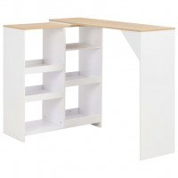 VidaXL Table de bar avec tablette amovible Blanc 138 x 40 x 120 cm