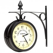 Horloge de gare retro double face New York
