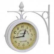Horloge de gare blanche retro double face New York