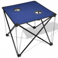 Table de camping pliante bleue