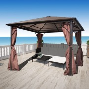 Gazebo con Tenda Marrone in Alluminio 300 x 300 cm