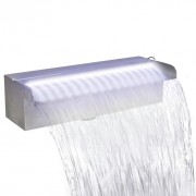 Fuente cascada rectangular LED  piscina acero inoxidable 30 cm
