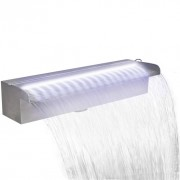 Fuente cascada rectangular LED para piscina acero inoxidable 45 cm