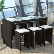 Set da Bar da Giardino 7 pz con Cuscini in Polyrattan Marrone