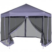 Gazebo Esagonale Pop-Up con 6 Pareti Blu Scuro 3,6x3,1 m