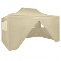 vidaXL Carpa pleglable Pop-up con 4 paredes 3x4,5 m blanco crema