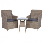 Set da Bistro 3 pz con Cuscini in Polyrattan Marrone