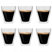 Vasos de cristal térmico doble pared para café 6 uds 280 ml