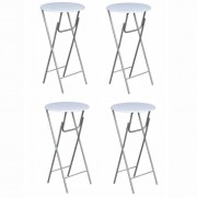 VidaXL Table de bar 4 pcs avec dessus de table en MDF Blanc