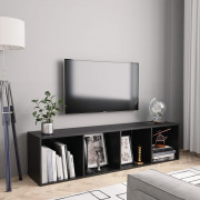 Libreria/Mobile TV Nero 143x30x36 cm