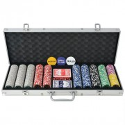 Set da Poker con 500 Chips Laser in Alluminio