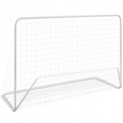 But de football avec filet 182x61x122 cm Acier Blanc