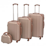 VidaXL 4 Pz. Set di Trolley Rigidi Color Champagne