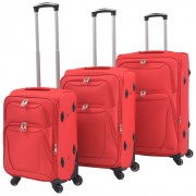 3 pz Set di Valigie Trolley Morbide Rosse