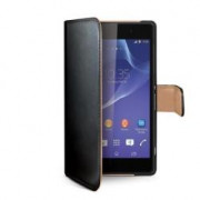 BLACK PU WALLET CASE XPERIA T3