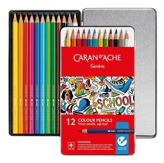 Caran d/'Ache SCHOOL LINE 12 Matite Colorate Acquerellabili Soft Scatola Metallo