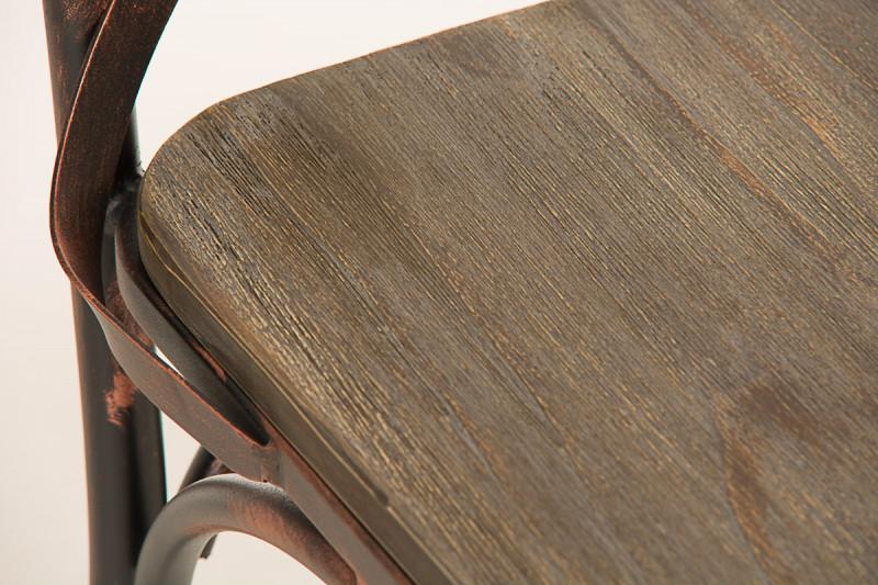CLP Sedia Bar Bromley Design Industriale Sedia Gastronomia con Schienale Sedia Pranzo r/étro Argento Antico Sedia Cucina in Legno e Metallo Sedia Design Rustico