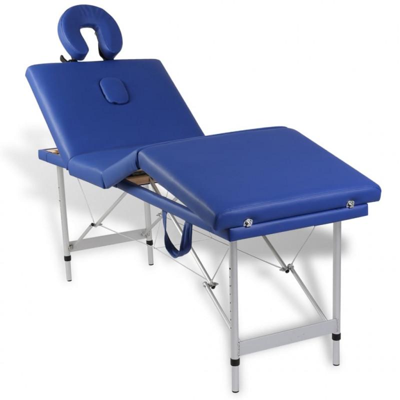 Tavolo per Massaggi pieghevole in 5/% Poliestere 95/% PVC 4/Zone cornice in alluminio blu