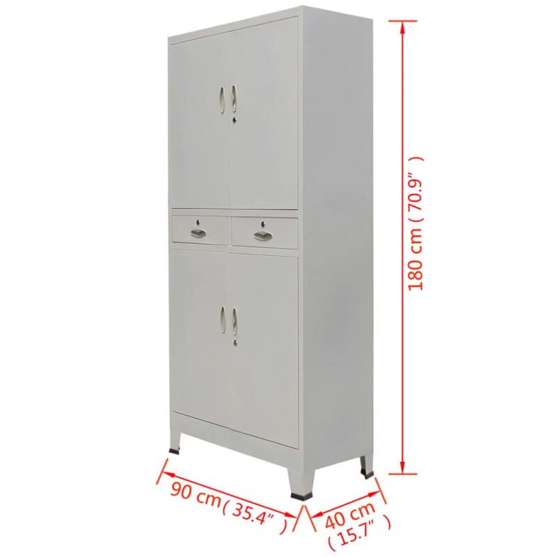 VidaXL Arredamento Casa Cucina Armadio per Ufficio con 4 Ante Acciaio 90x40x180 cm Grigio