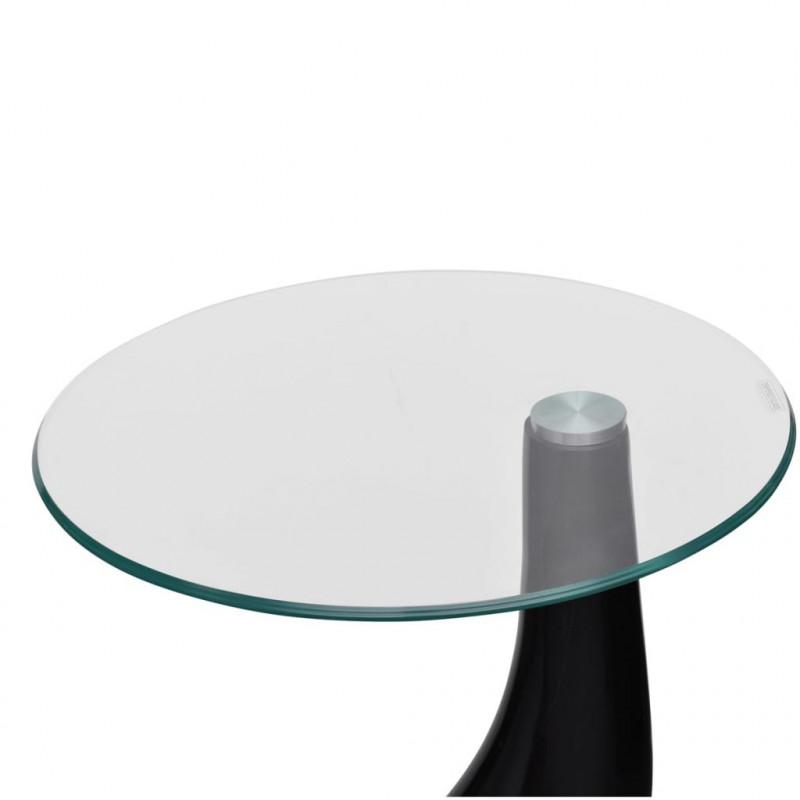 Vidaxl Tables Table Basse Avec Dessus De Table En Verre Rond Noir Brillant