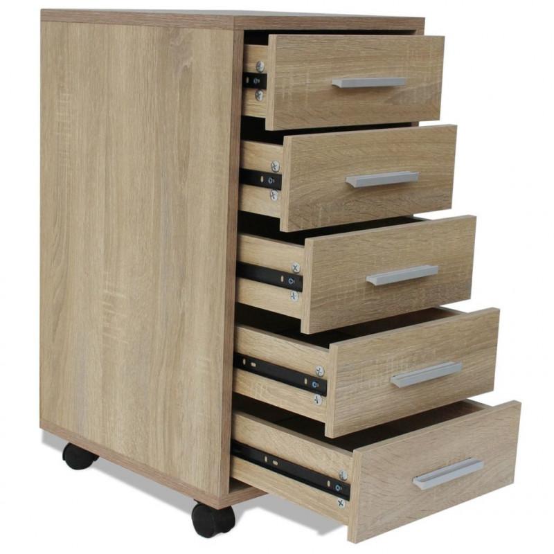 VidaXL Arredamento Casa Cucina Cassettiera da Ufficio con Ruote 5 Cassetti  Rovere