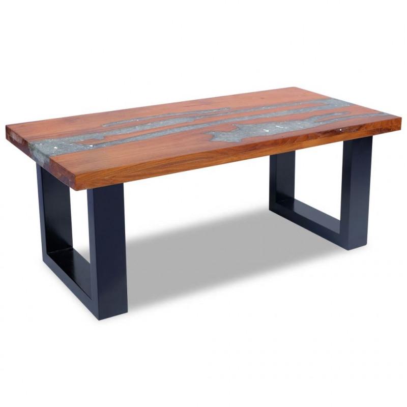 Vidaxl Vx243467 Table Basse Teck Résine 100 X 50 Cm Vx243467 Epto