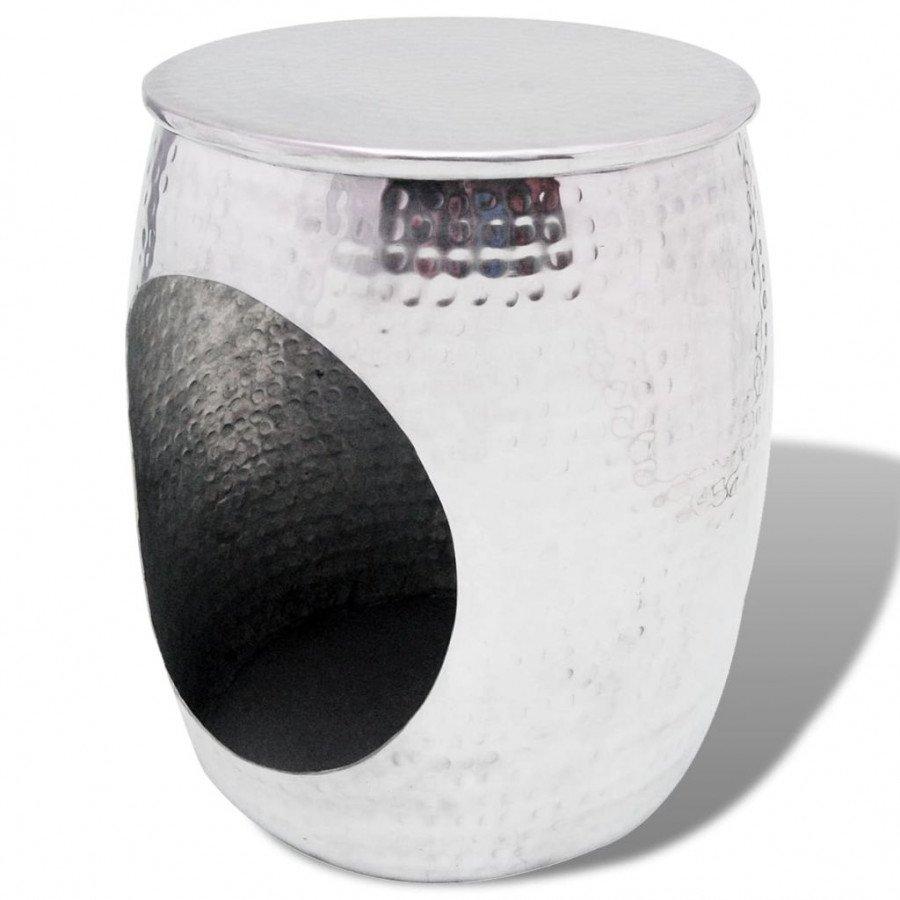de Table d'appoint VidaXL Argenté en forme Tables baril Tabouret Aluminium 4L3RqAcjS5