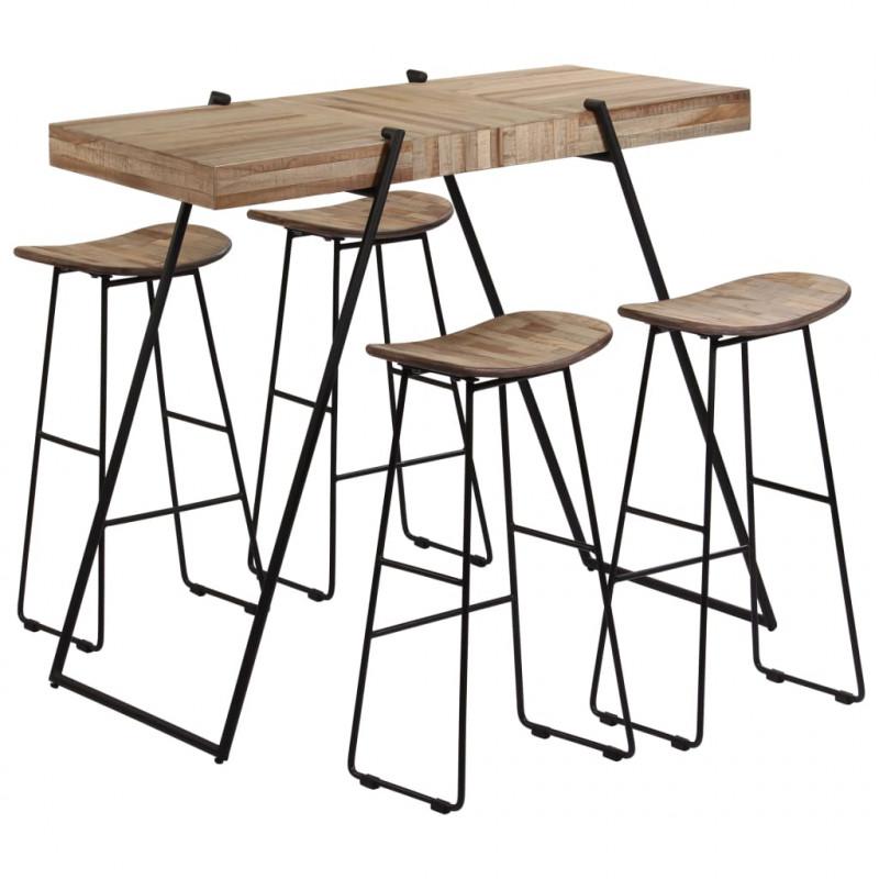 vidaXL Conjuntos de mobiliario Set mesa y sillas de bar 5 piezas madera de  teca reciclada