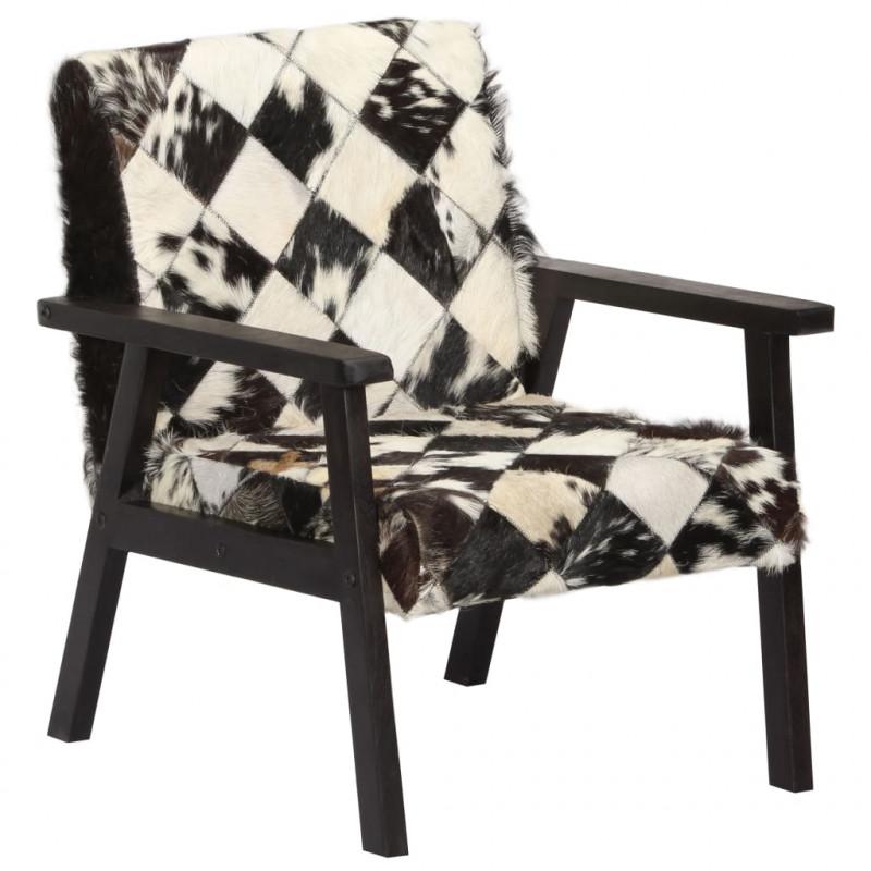 chaises 61x70x74 Cuir Fauteuils Fauteuil Noir et VidaXL et cm véritable blanc y08nNPvmwO