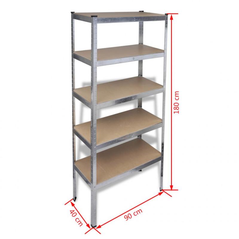 VidaXL Utensili 10 pz Scaffali per Garage e Magazzini 180cm