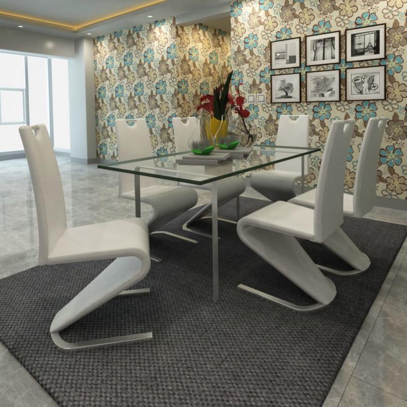 synthétique manger 6pcs Chaise Cantilever de à Cuir Blanc VidaXL Fauteuils salle k0wO8nP