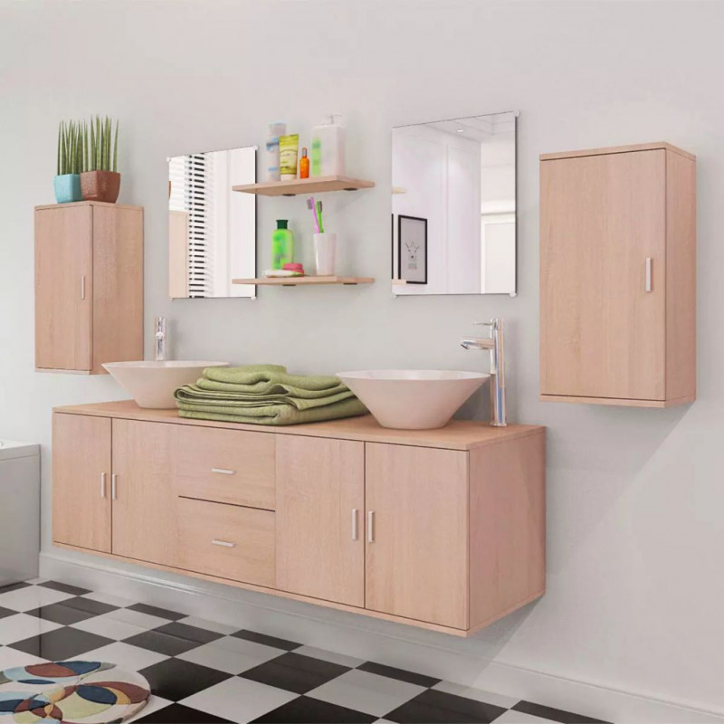 VidaXL Bagno Set 11 Mobili per bagno con lavandino con rubinetto beige